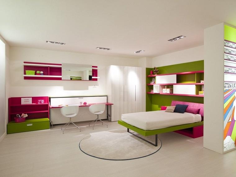 rosa verde dormitorio chica adolescente ideas