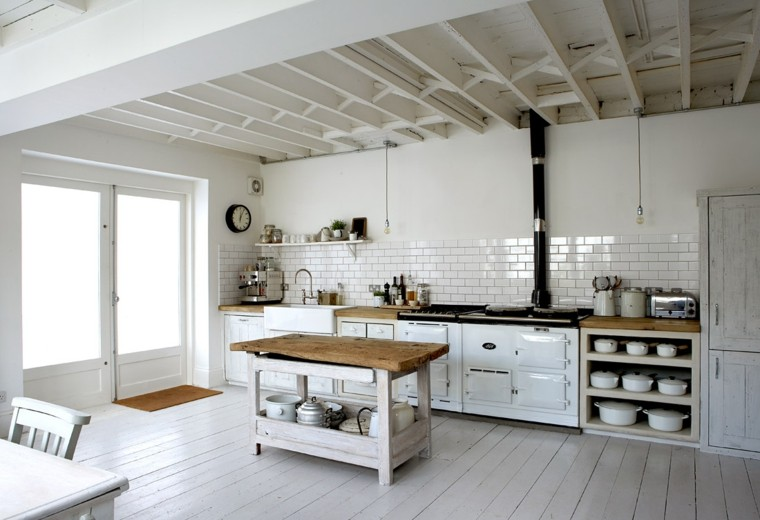 rustica cocina blanca reloj madera