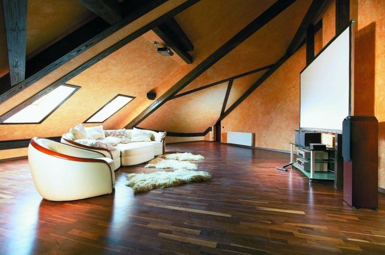 sala estar atico suelo madera
