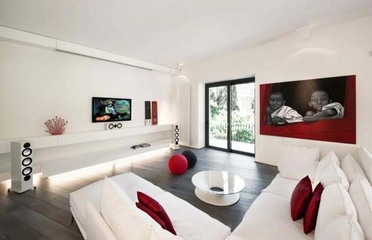 Sala de estar moderna de estilo minimalista 100 ideas for Casa minimalista rojo