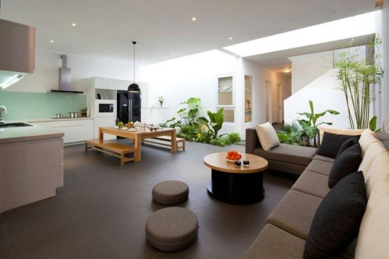 sala de estar cocina jardin