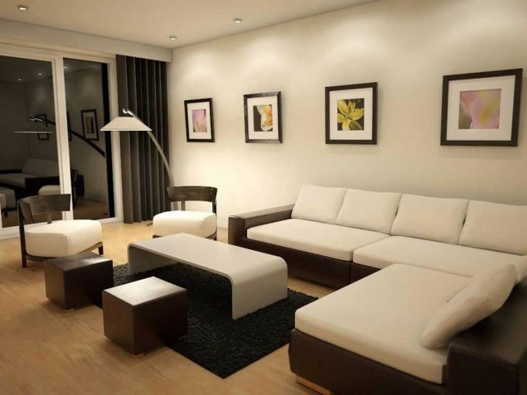 Sala de estar moderna de estilo minimalista 100 ideas for Idea sala de estar cuadrada