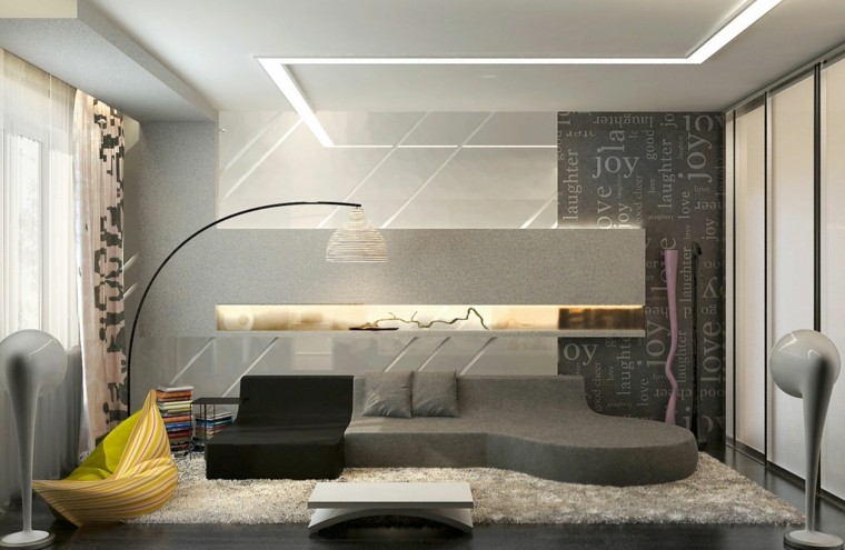 sala estar moderna color gris