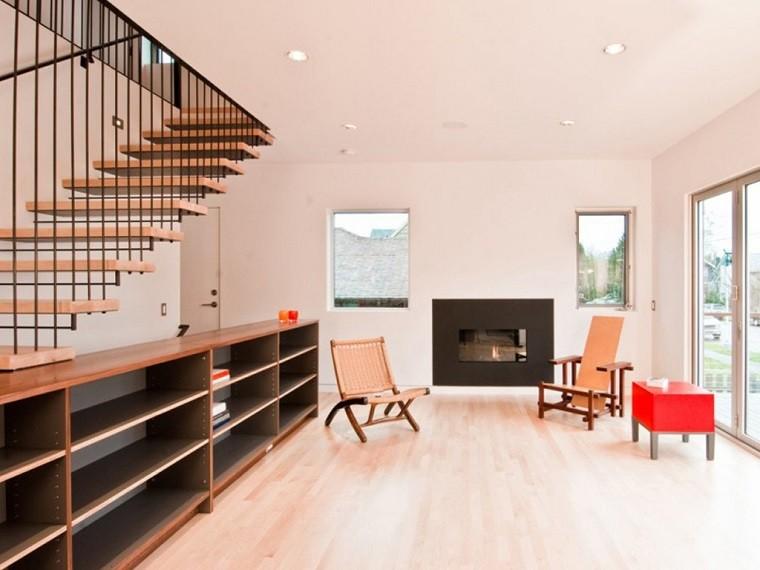 Decorar escaleras con estilo 50 ideas for Sala de estar madera