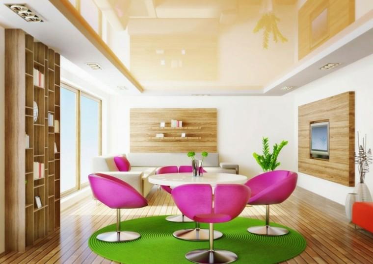 sala estar sillas color rosa
