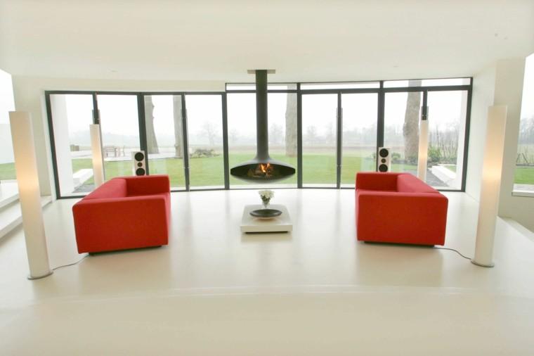 sala estar minimalista sillones rojos