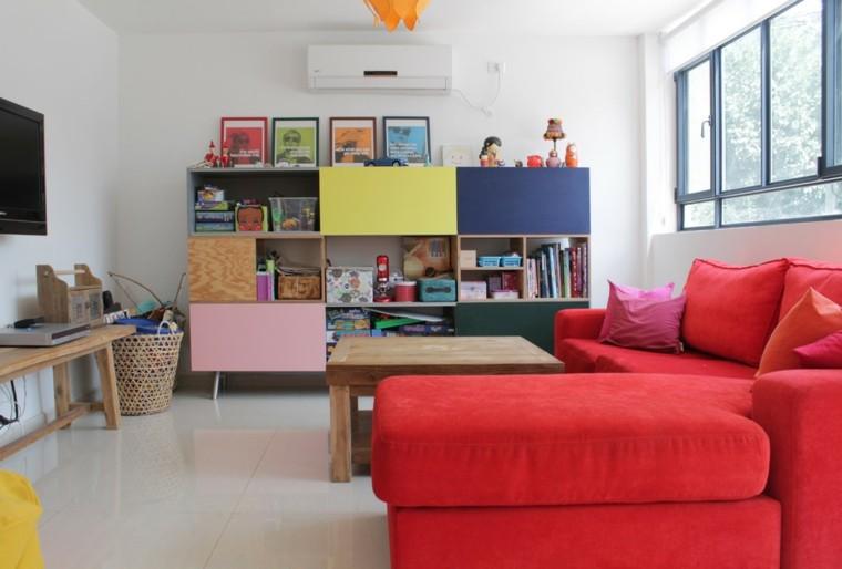 sala estar sofa rojo forma ele