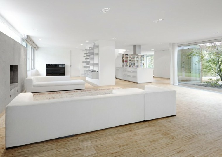 salas de estar blancas modernas