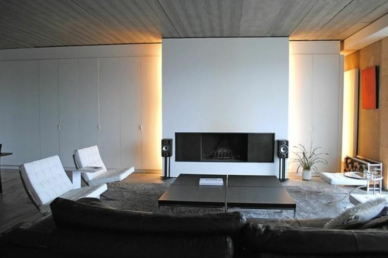 salon moderno chimenea luces led