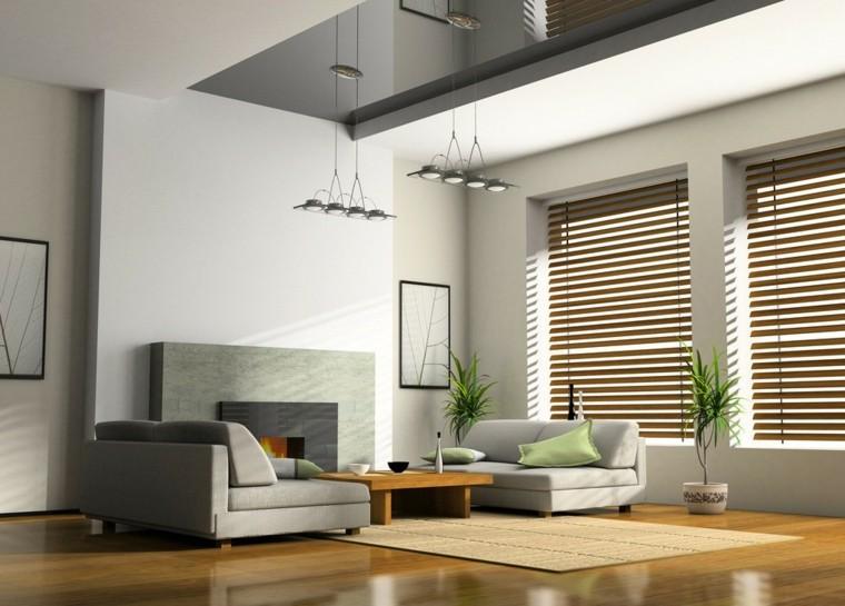 salon chimenea moderna cojin verde