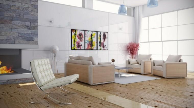 salon chimenea moderna estilo escandinavo
