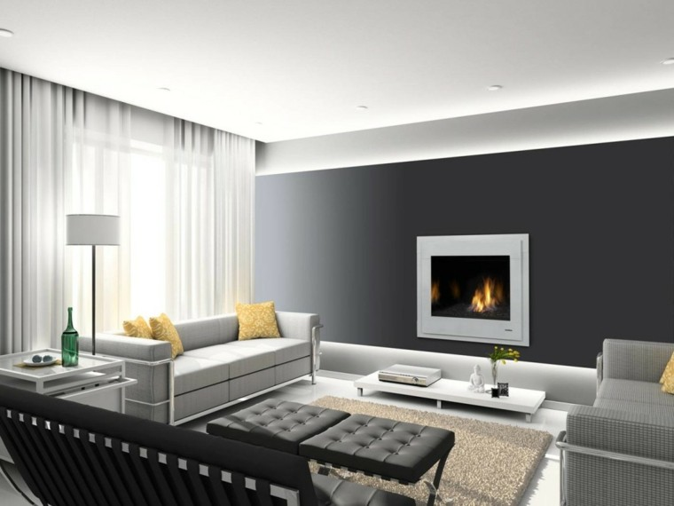 salon moderno chimenea pared negra