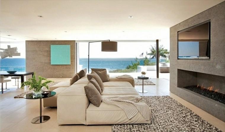 salon chimenea moderna vistas playa - Decoracion De Salones Con Chimenea