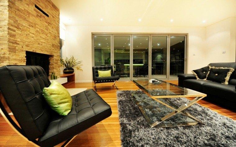 salon chimenea sofas piel negros