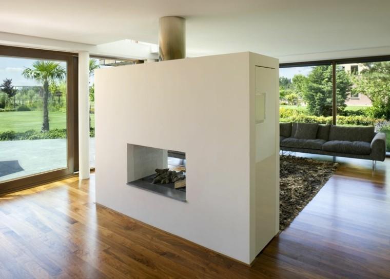 salon muro chimenea moderna jardín