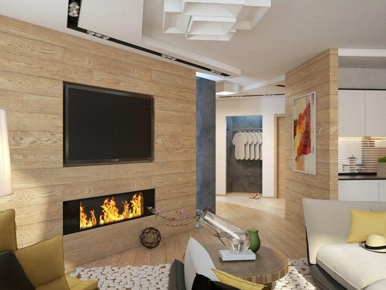 salon pared laminado madera chimenea