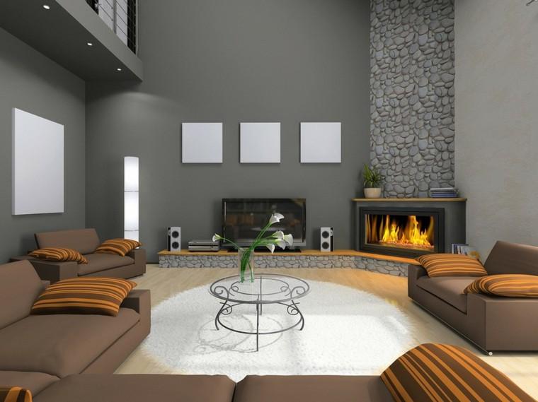 salon moderno color gris chimenea