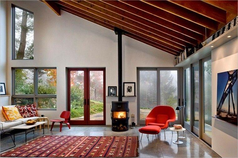 salon amplio alfombra vintage chimenea ideas