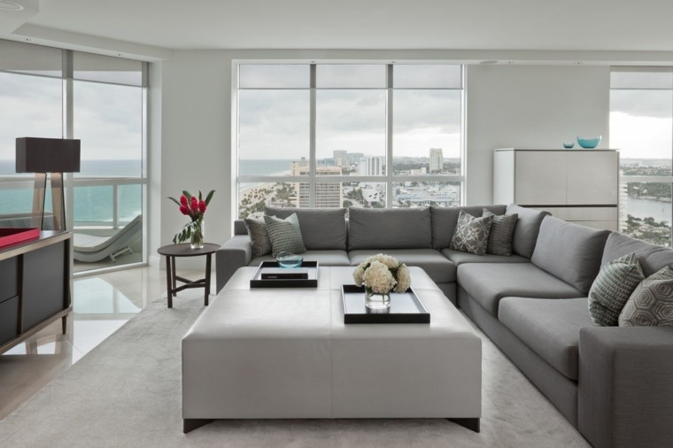 salon amplio luminoso otomana sofas grises ideas