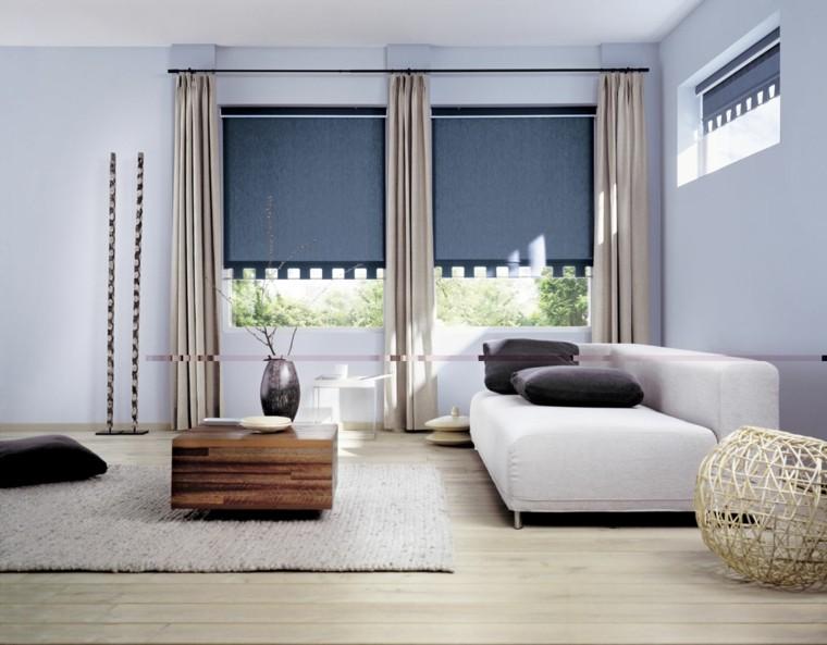 salon amplio sofa blanca estores azules ideas