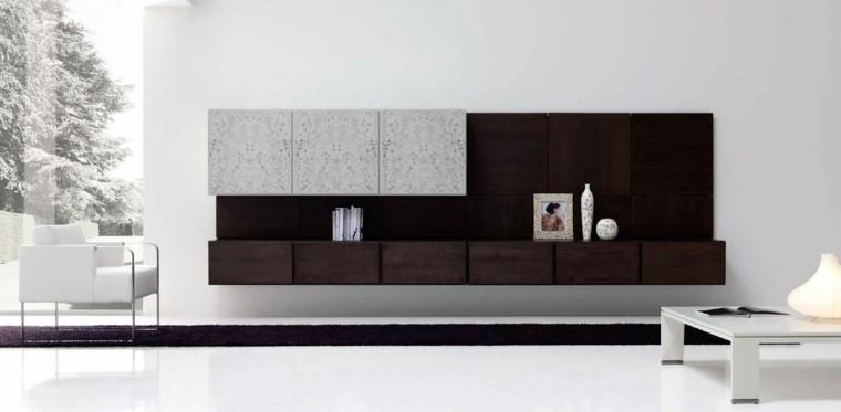 salon blanco mueble madera