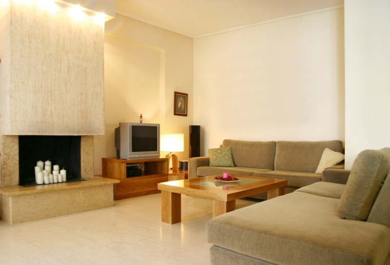 salon color beige mesa madera