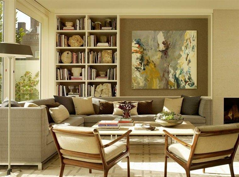 salon color beige muebles madera