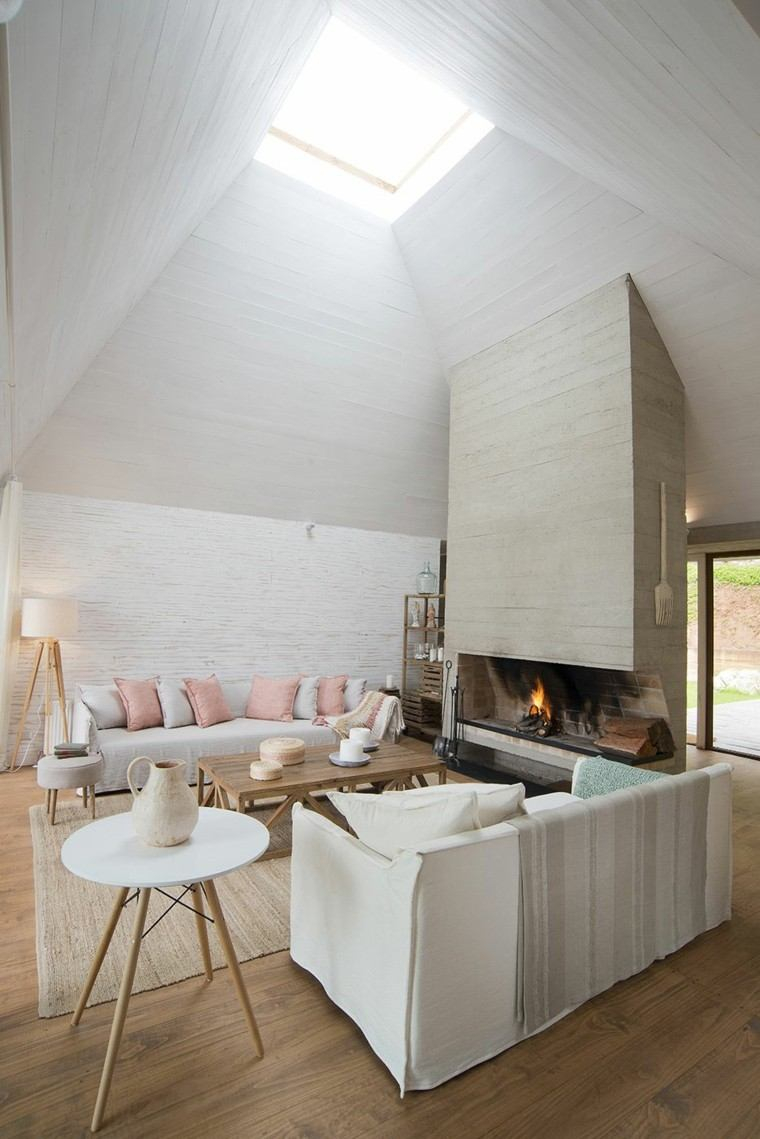 salon blanco estilo campestre chimenea mesa madera ideas