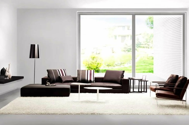 salon blanco sofa color marron