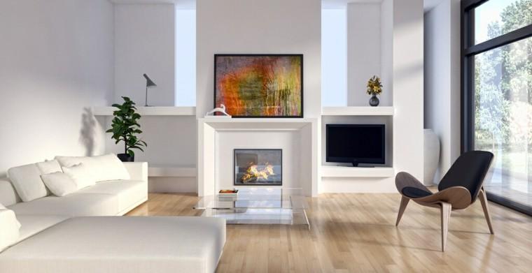 salon blanco suelo madera laminada
