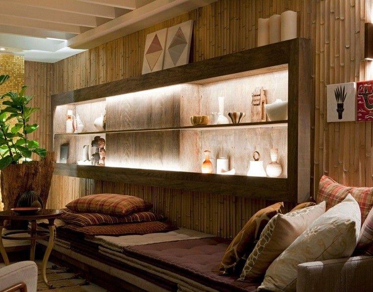 salon casa pared bambo ideas interesantes bonito
