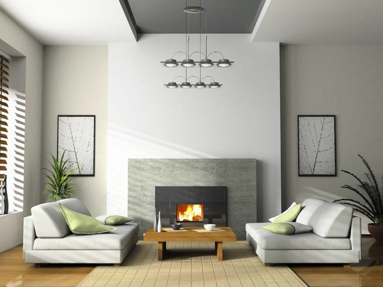 Sala de estar moderna de estilo minimalista 100 ideas - Chimeneas para pisos ...