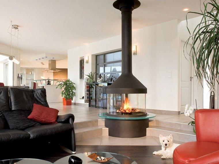 salon chimenea negra acero moderna cristal ideas