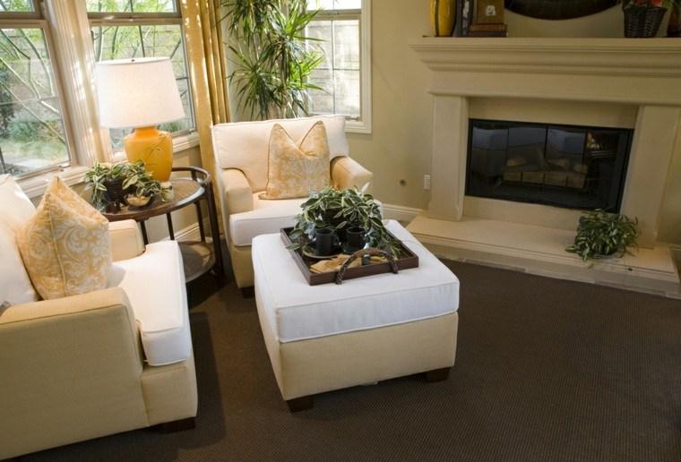 salon chimenea sofas amarillo blanco otomanas ideas