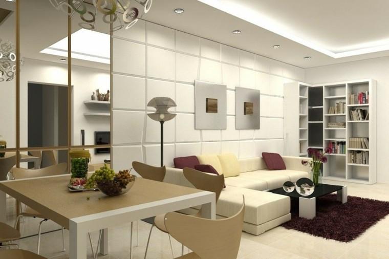 salon comedor abierto lamparas moderno
