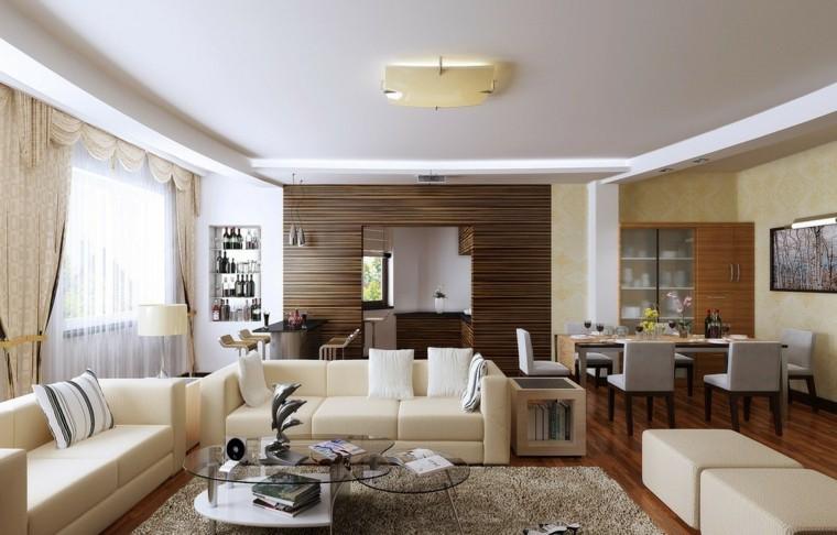 Salon comedor y espacios abiertos decorando con estilo for Cortinas salon comedor