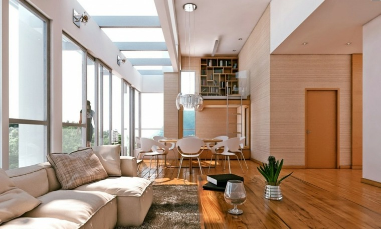 salon comedor unido por acentos de madera