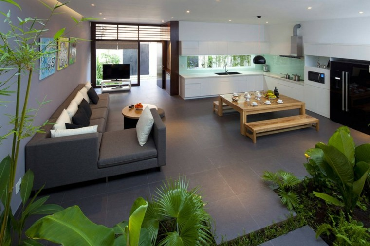 salon comedor jardin interior diseño