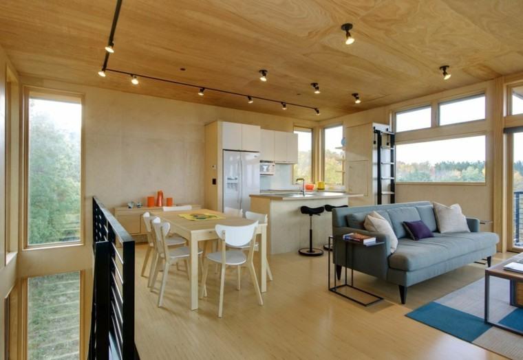 salon comedor madera ambiente led