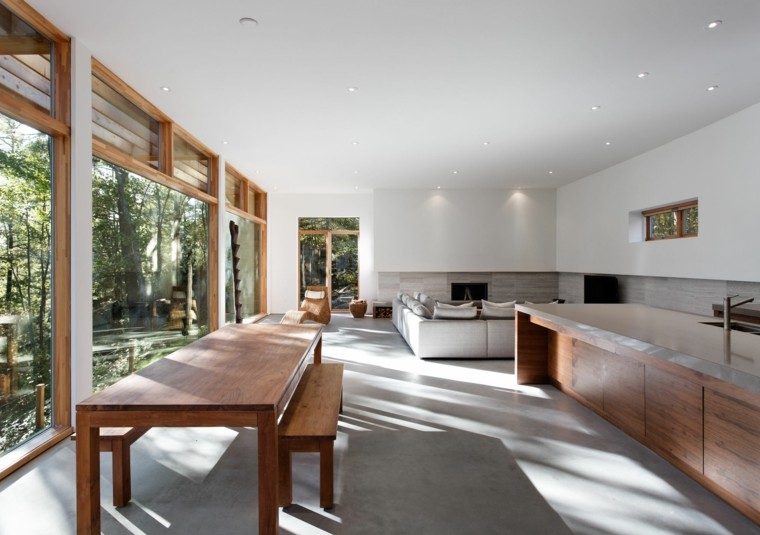 salon comedor moderno led mesa