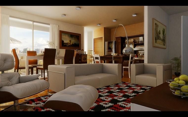 salon comedor moderno mueble lamparas