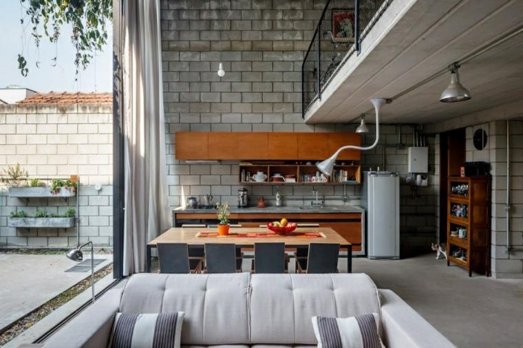 salon comedor cocina muro gris