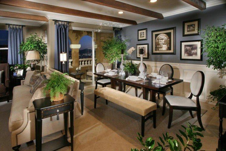 salon comedor plantas diseño azul
