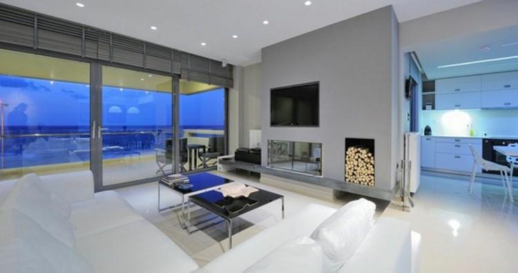salon diseño moderno chimenea luces