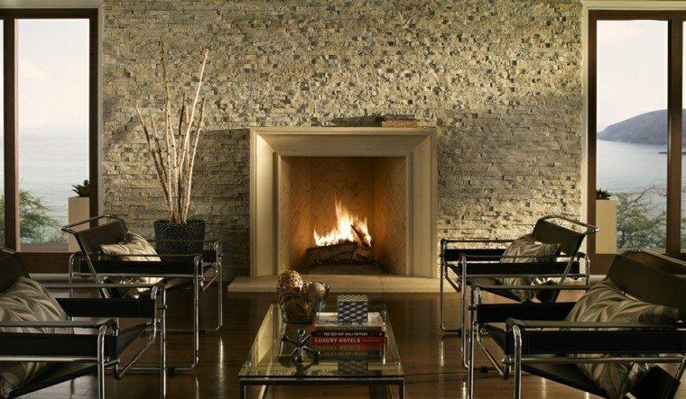 salon diseno moderno chimenea pared piedra ideas