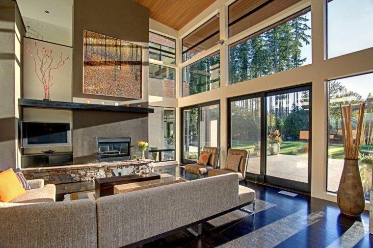 Interiores de casas modernas 25 estupendas ideas - Jardines interiores en casas modernas ...