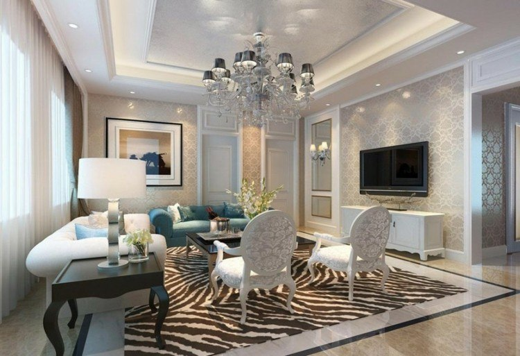 salon lujoso estilo señorial techo