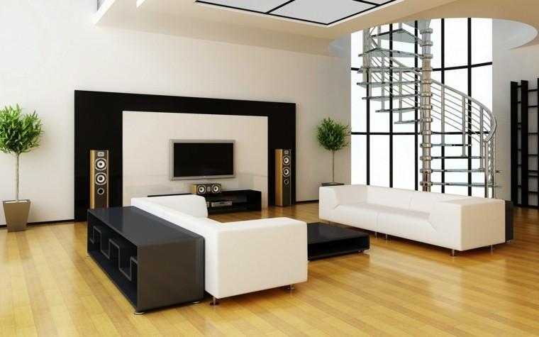 salon estilo minimalista suelo madera