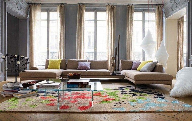 salon moderno alfombra mesa cristal moderno ideas