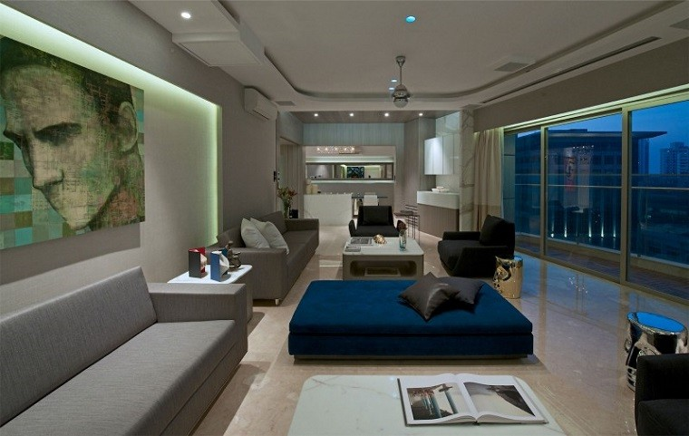 salon moderno amplio sofas gris ideas